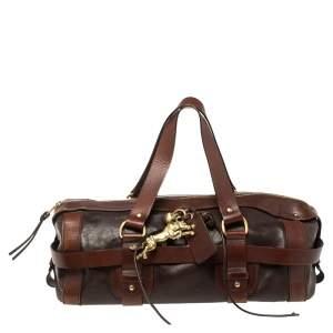 Chloe Dark Brown Leather Kerala Lock Horse Shoulder Bag