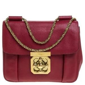 Chloe Red Leather Small Elsie Shoulder Bag