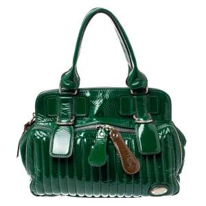Chloe Green Patent Leather Double Zip Pocket Satchel