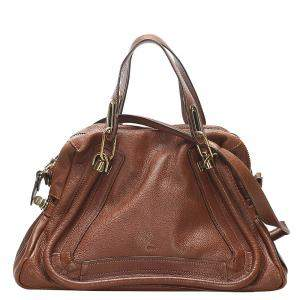 Chloe Brown Leather  Paraty Satchel Bag