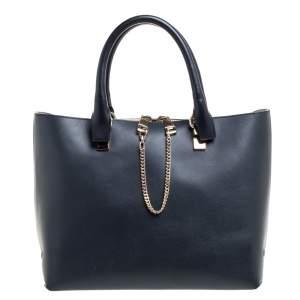 Chloe Black/Grey Leather Medium Baylee Tote