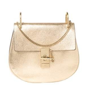 Chloe Metallic Gold Leather Medium Drew Shoulder Bag