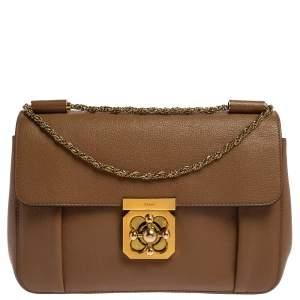 Chloe Brown Leather Medium Elsie Shoulder Bag