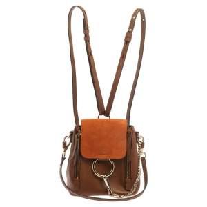 Chloe Brown/Orange Leather and Suede Mini Faye Backpack