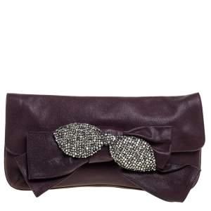 Chloe Burgundy Leather Bow Crystal Embellished Clutch