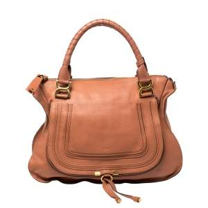 Chloe Peach Leather Large Marcie Satchel