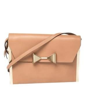 Chloe Peach Leather Rachel Bow Crossbody Bag