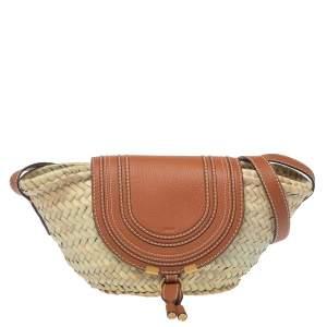 Chloe Beige/Tan Braided Raffia and Leather Small Marcie Basket Bag