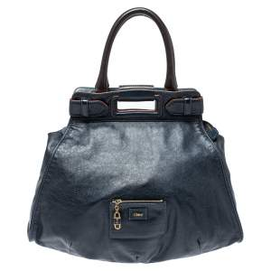 Chloe Navy Blue Leather Cutout Tote