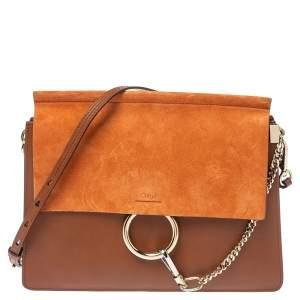 Chloe Brown/Orange Leather ad Suede Faye Medium Shoulder Bag