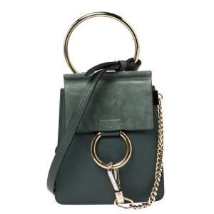 Chloe Sage Green Leather and Suede Mini Faye Crossbody Bag