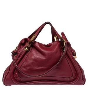 Chloe Maroon Leather Paraty Shoulder Bag
