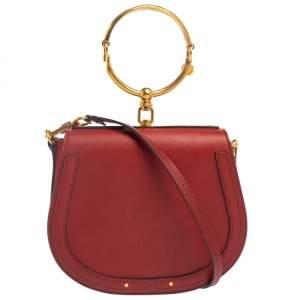 Chloe Red Leather Medium Nile Bracelet Shoulder Bag