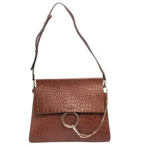 Chloe Brown Croc Embossed Leather Medium Faye Shoulder Bag