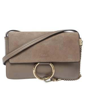Chloe Beige Leather and Suede Small Faye Shoulder Bag