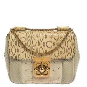 Chloe Grey/Beige Python Small Elsie Shoulder Bag