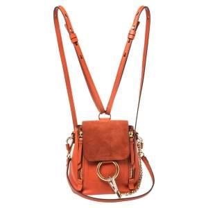 حقيبة ظهر كلوي ميني فاي جلد برتقالي وسويدي
