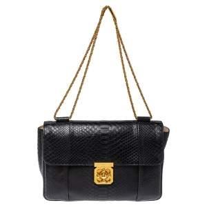 Chloe Black Python Large Elsie Shoulder Bag