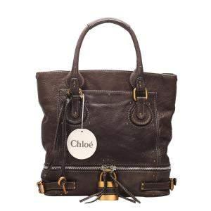 Chloe Brown Paddington Leather Tote Bag