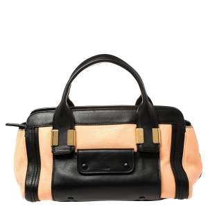 Chloe Beige/Black Leather Alice Satchel Bag