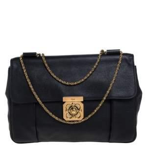Chloe Black Leather Large Elsie Shoulder Bag