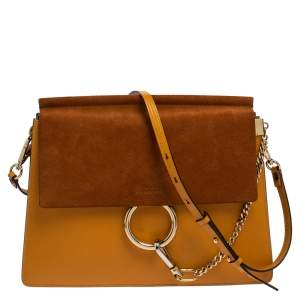 Chloe Yellow/Brown Leather and Suede Medium Faye Shoulder Bag