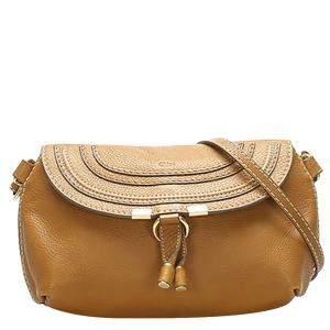 Chloe Brown Leather  Marcie Shoulder Bag