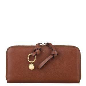 Chloe Brown Leather Alphabet Zip Around Wallet