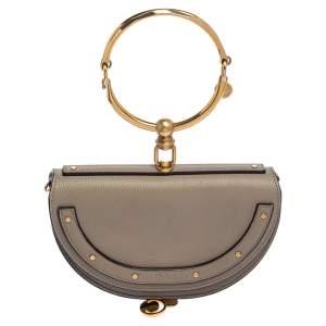 Chloe Taupe Leather Small Nile Bracelet Minaudiere Crossbody Bag