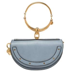Chloe Blue Leather Small Nile Bracelet Minaudiere Crossbody Bag