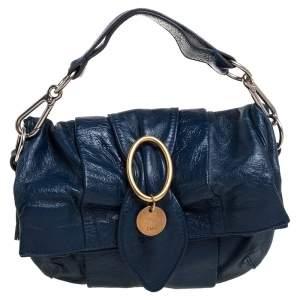 Chloe Navy Blue Glazed Leather Buckle Bow Fold Over Clutch Bag