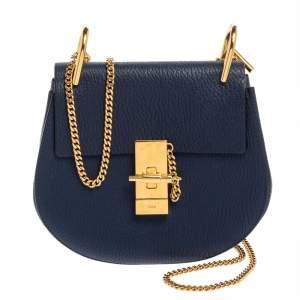 Chloe Blue Leather Small Drew Shoulder Bag