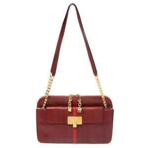 Chloe Maroon Python Embossed Leather Shoulder Bag