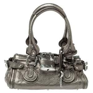 Chloé Metallic Pebbled  Leather Mini Paddington Bag