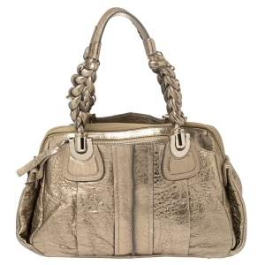 Chloe Metallic Gold  Textured Leather Heloise Bag