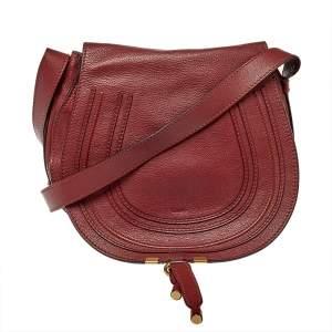Chloe Burgundy Pebbled Leather Marcie Crossbody Bag