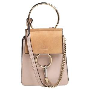 Chloé Peach Leather and Suede Mini Faye Crossbody Bag