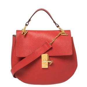 Chloe Red Grained Leather Large Drew Shoulder Bag