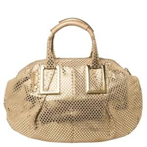 Chloe Metallic Gold/Beige Checkered Leather Ethel Satchel