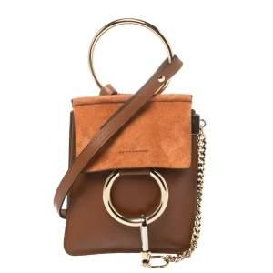 Chloe Brown/Orange Leather and Suede Mini Faye Crossbody Bag