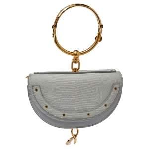 Chloé Grey Lizard Embossed Leather Small Nile Bracelet Minaudiere Crossbody Bag