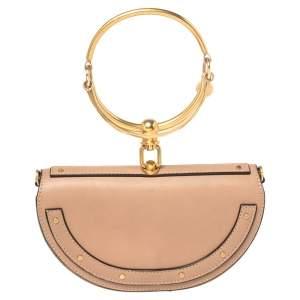 Chloe Beige Leather Small Nile Bracelet Minaudiere Crossbody Bag