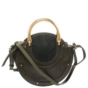 Chloe Olive Green Leather and Suede Pixie Round Crossbody Bag