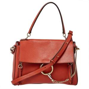 Chloe Ginger Brown Leather Medium Faye Day Top Handle Bag