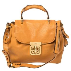 Chloe Mustard Yellow Leather Elsie Top Handle Bag