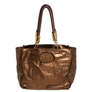 Chloe Metallic Bronze Parallel Line Detail Leather Logo Tote