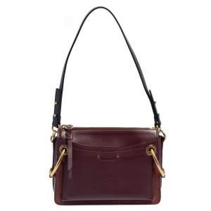 Chloe Burgundy Leather Roy Crossbody Bag