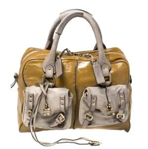 Chloe Olive Green/Grey Patent And Leather Double Pocket Paddington Satchel