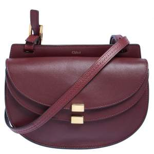 Chloé Burgundy Leather Mini Georgia Crossbody Bag