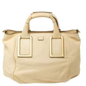 Chloe Cream Leather Medium Ethel Satchel